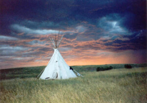 tipi at sunset storm
